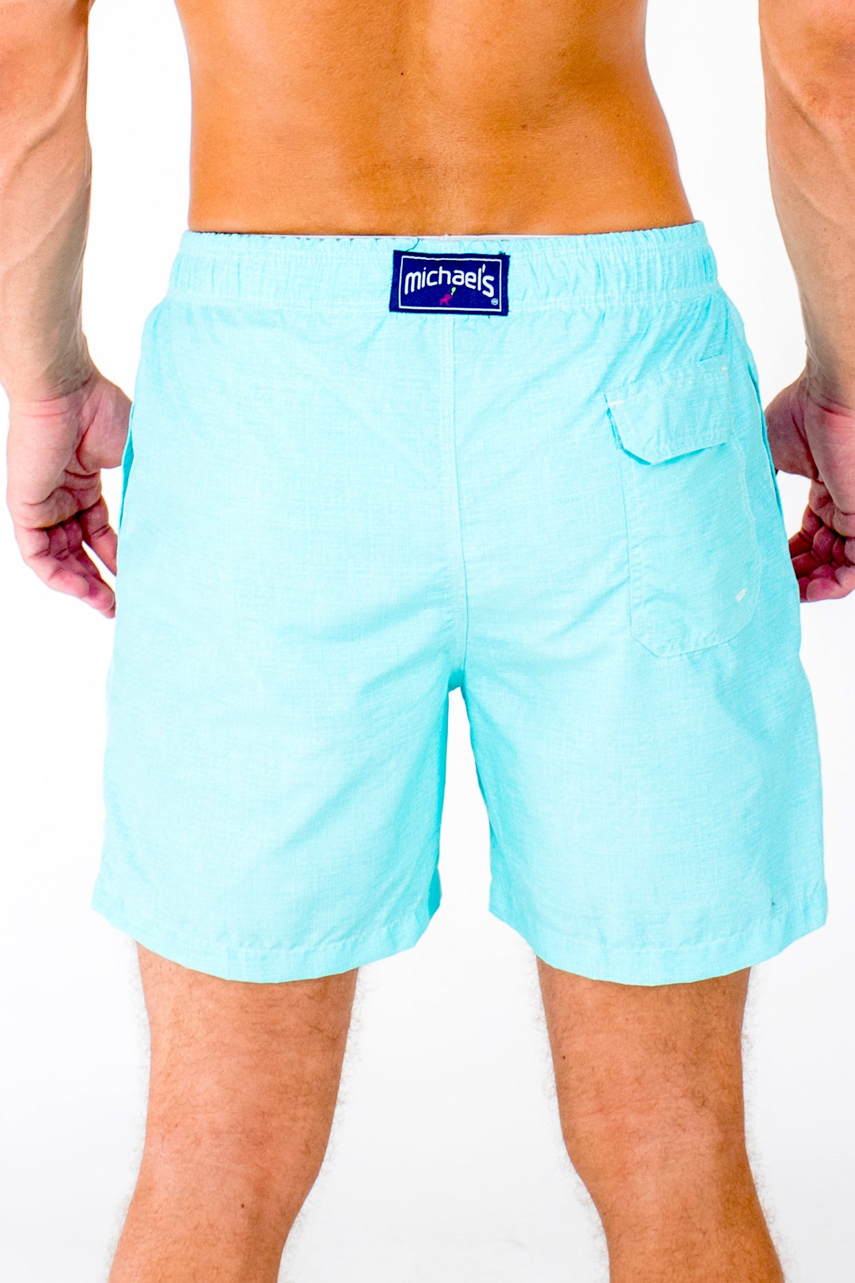 b4dff1ffec9db Men s Solid Linen Print Swim Trunks- Aqua - Michael s Swimwear