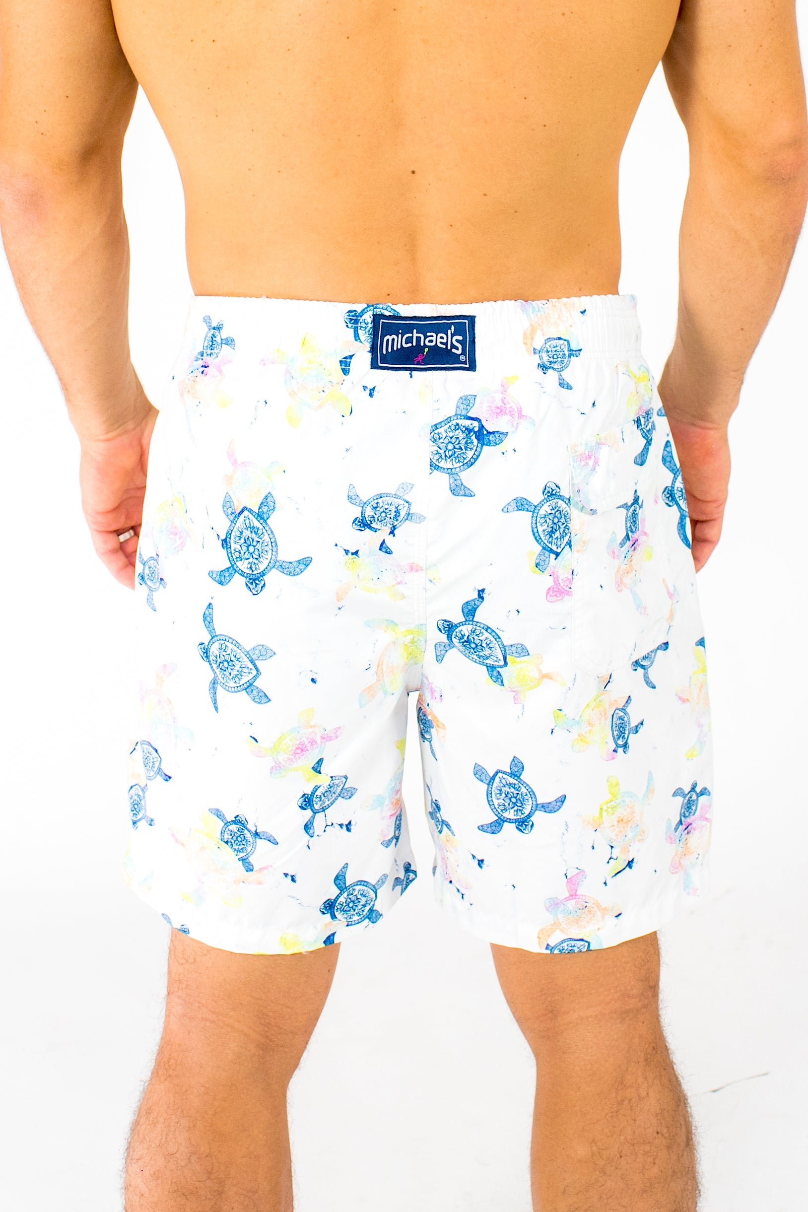 6f4f1fbb0d Men's Turtles Swim Trunks With Cyclist Liner- White - Michael's Swimwear