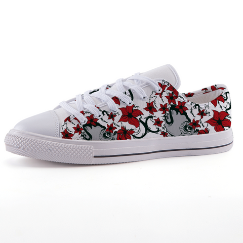 Womens Flower Design Low-top fashion canvas shoes