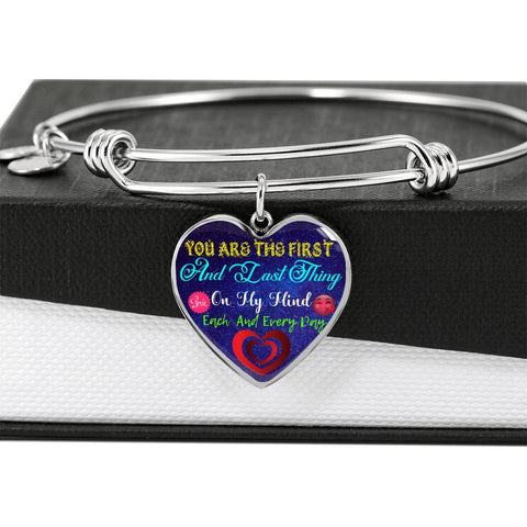 You Are The First Luxury Bangle Heart Pendant