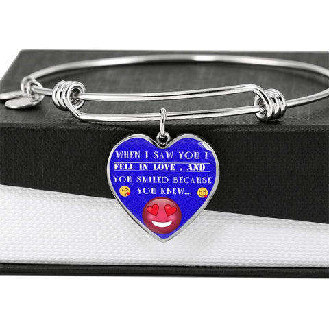 When I Saw You Luxury Bangle Heart Pendant