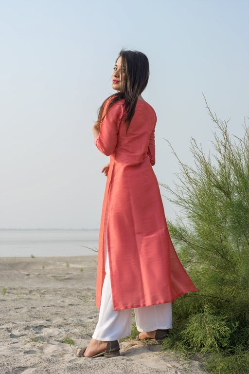 Pink Raw Silk Kurta