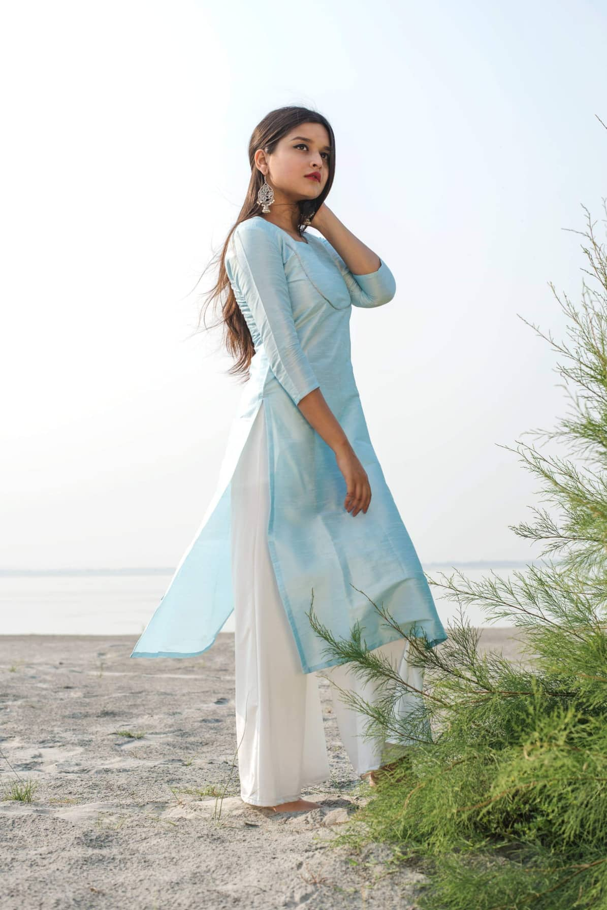 Powder Blue Raw Silk Kurta