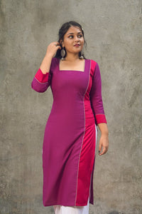 Purple & Pink combination cotton kurta