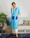 Kurta Set : Blue Ikat Print Kurta with white straight pants