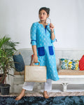 Blue Ikat Print Kurta with pockets