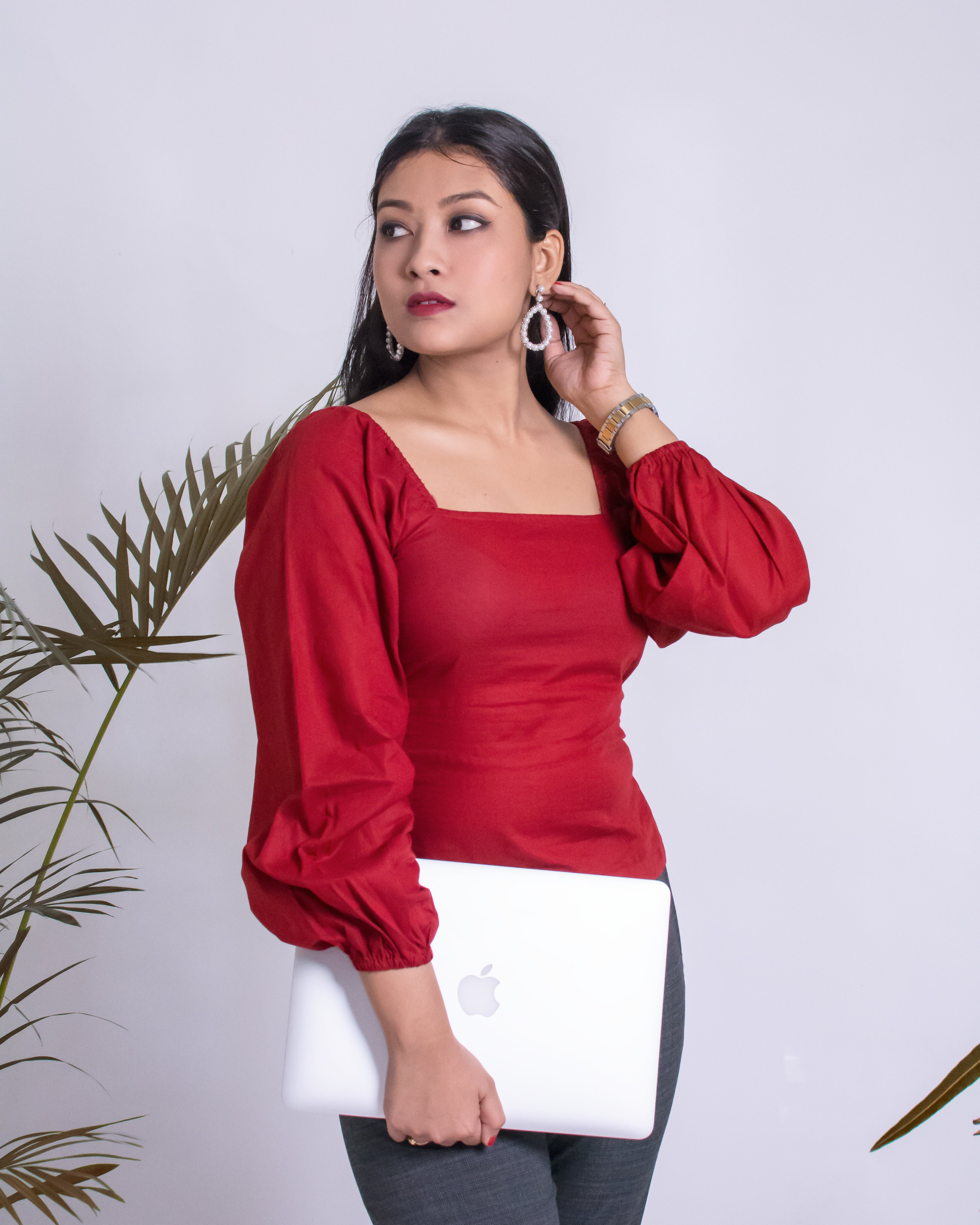 Deep Red Puffed Sleeved Top
