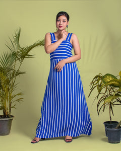 Blue Striped Sleeveless Maxi