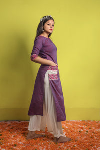 Chequered Purple Straight Kurta with Weave Design Details