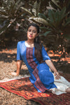 Chequered Blue Straight Kurta with Weave Details