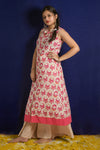Sleeveless Beige & Pink Straight Kurta