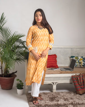 Mustard yellow Ikat Print Kurta with lace details