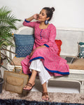 Kurta Set: Pink Ikat Print Anarkali Kurta and white straight pants
