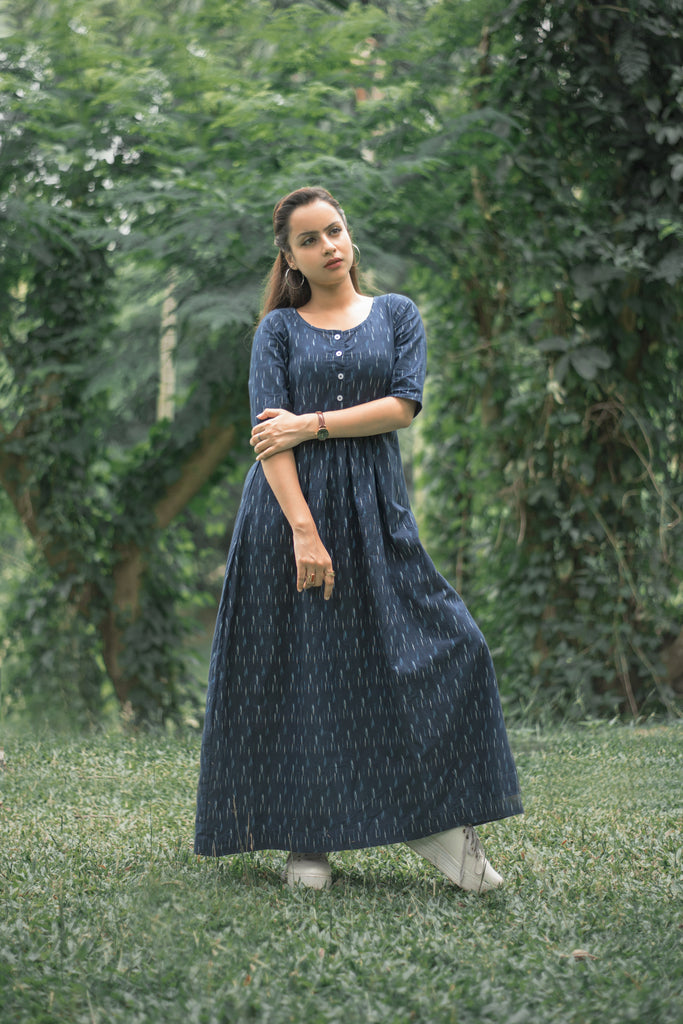 Ikat Print Navy Blue Dress