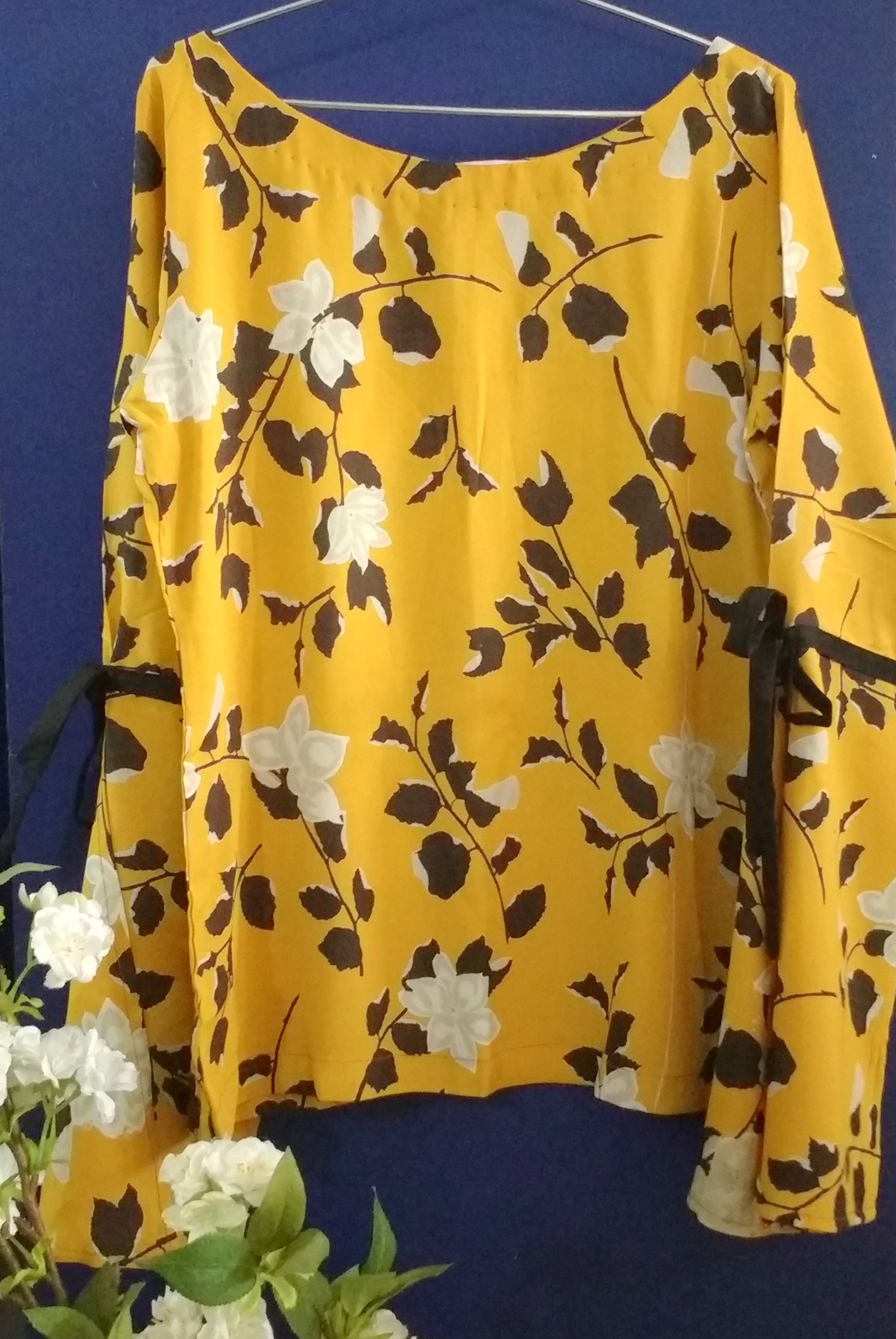Printed Yellow Bell Sleeved Top