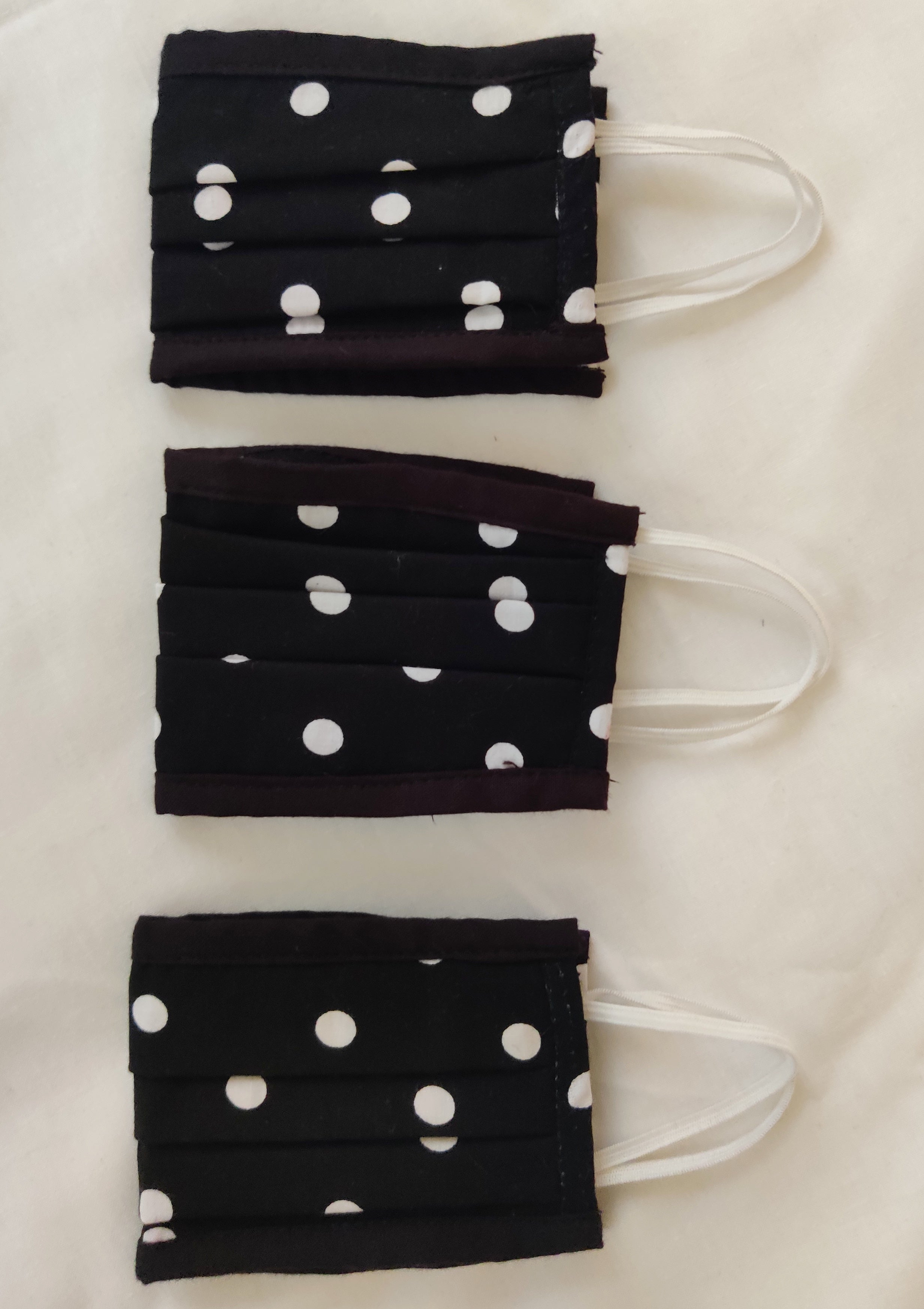 Black Polka Dot Double Layered Cotton Reusable Masks
