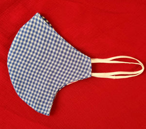 Blue Checked Double Layered Unisex Cotton Reusable Masks