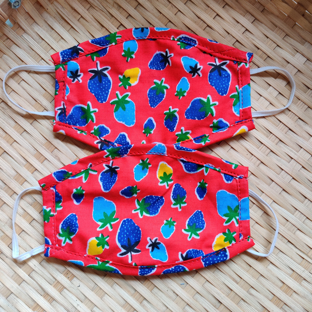 Red Printed Children's Reusable Double layered cotton masks