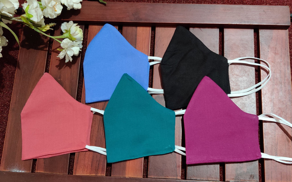 5 Assorted Solid Cotton Fabric Masks