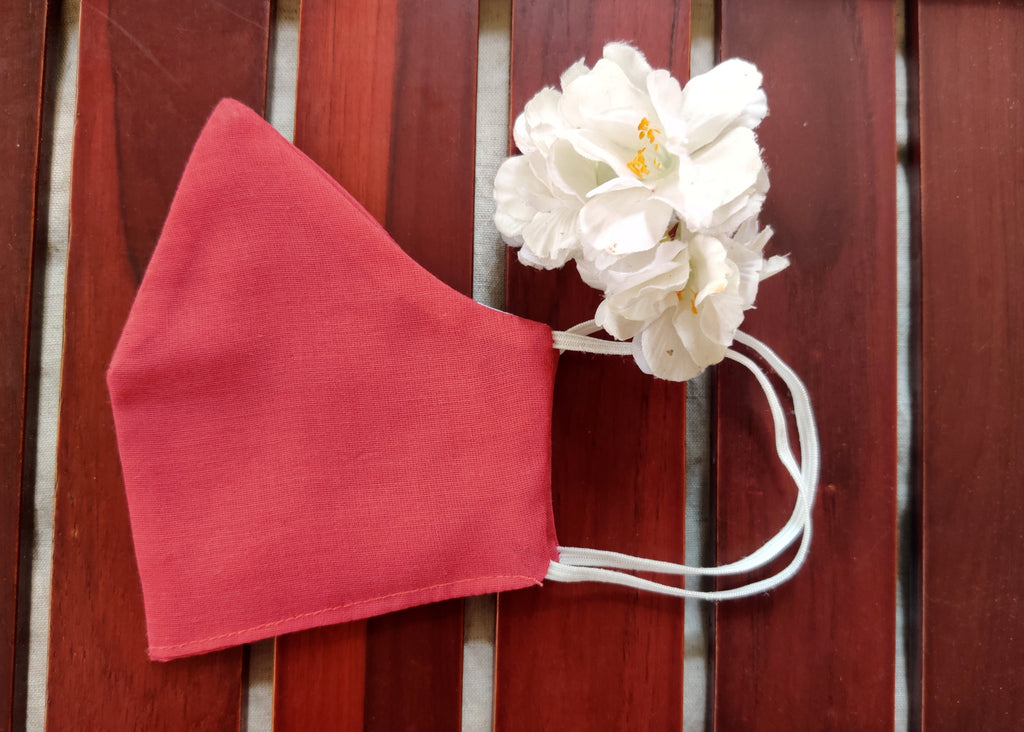 Berry Red Solid Cotton Fabric Mask