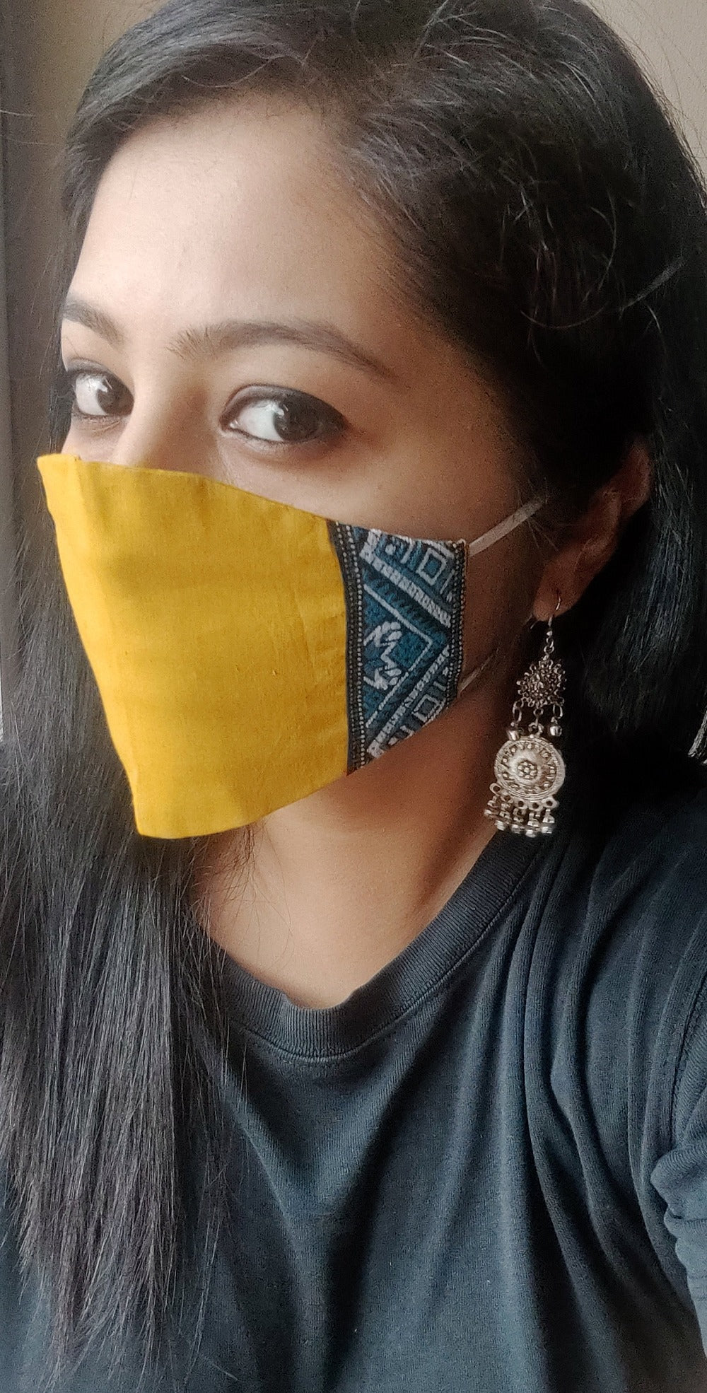 Pack of 3 - Weave detailed Yellow Reusable cotton handmade masks