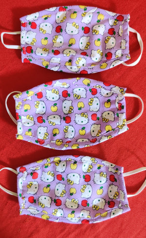 Purple Hello Kitty Printed Children's Double layered cotton masks