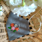 Grey Floral Hand embroidered Cotton Masks