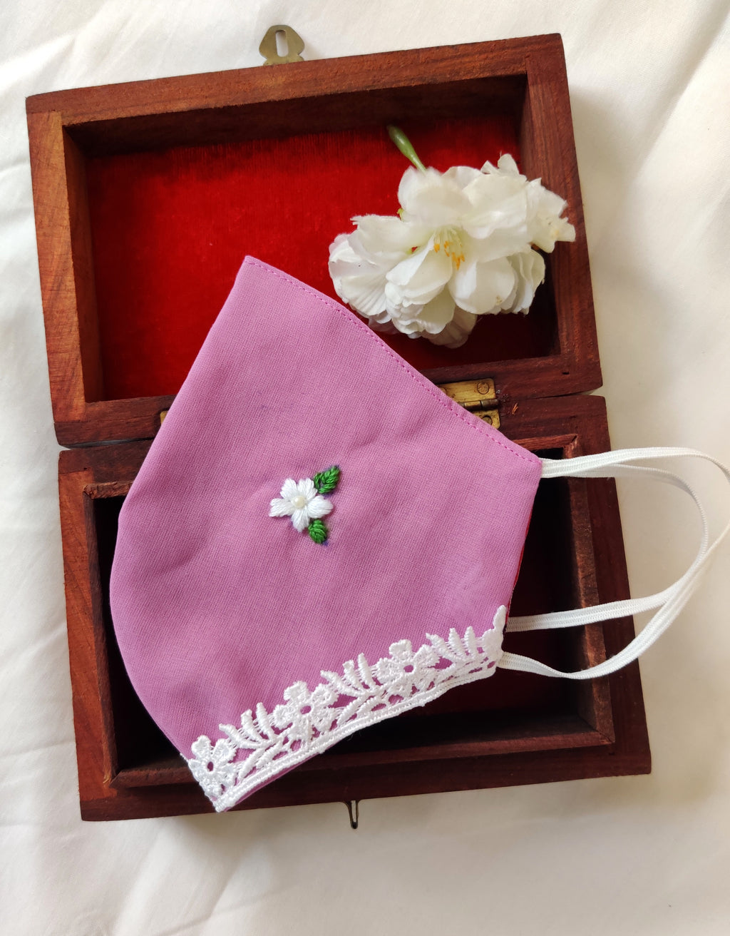 Purple Floral Hand embroidered Cotton Masks with lace details