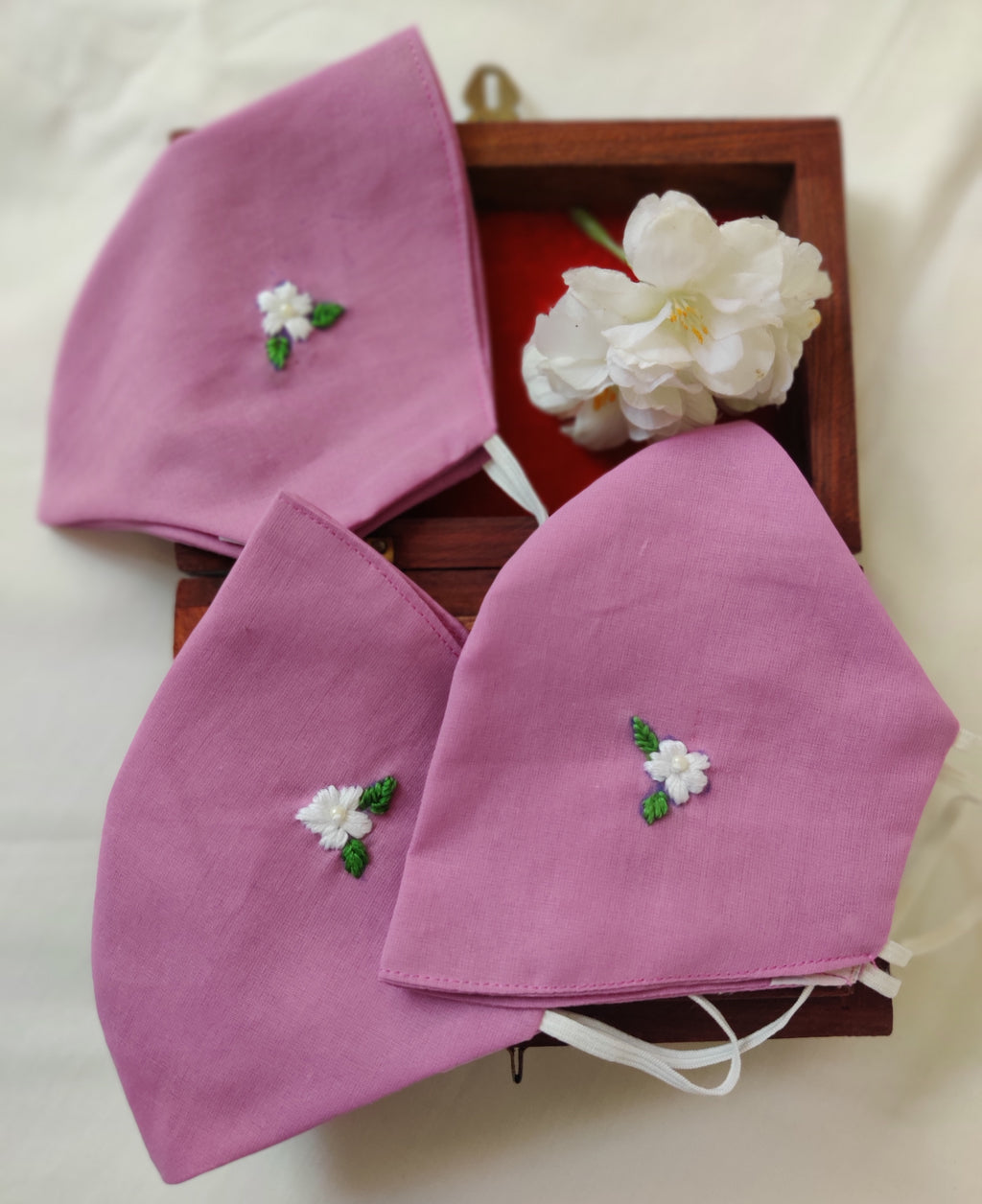 Purple Floral Hand embroidered Cotton Masks