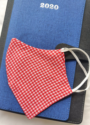 Unisex Red checked re-usable cotton fabric masks
