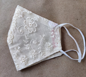 White Festive Embroidered Masks in Net Fabric