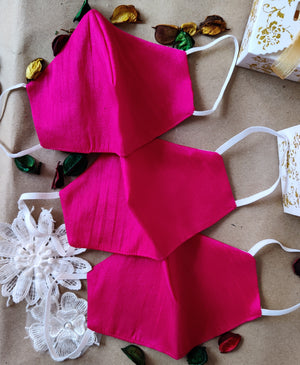 Solid Pink Festive Raw Silk Mask