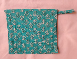 Blue Printed Cotton Fabric Mask Bag