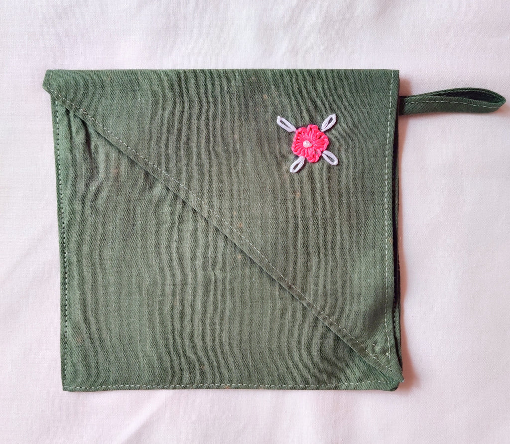 Green Cotton Fabric Mask Bag with hand embroidered details