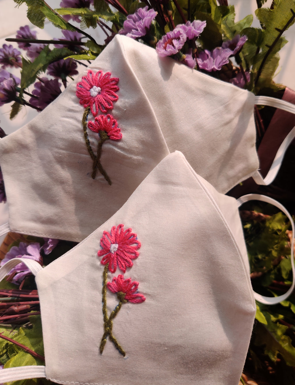Floral Pink Hand embroidered Cotton Masks