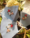 Blue Floral Hand embroidered Cotton Masks