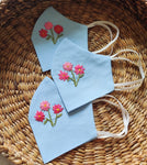 Floral Hand embroidered Cotton Masks in powder blue