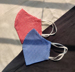 Pack of 2: Unisex checked reusable cotton fabric masks