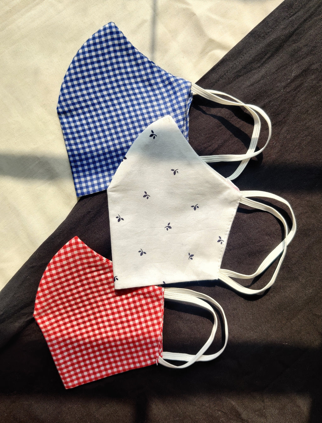 Pack of 3: Unisex checked reusable cotton fabric masks