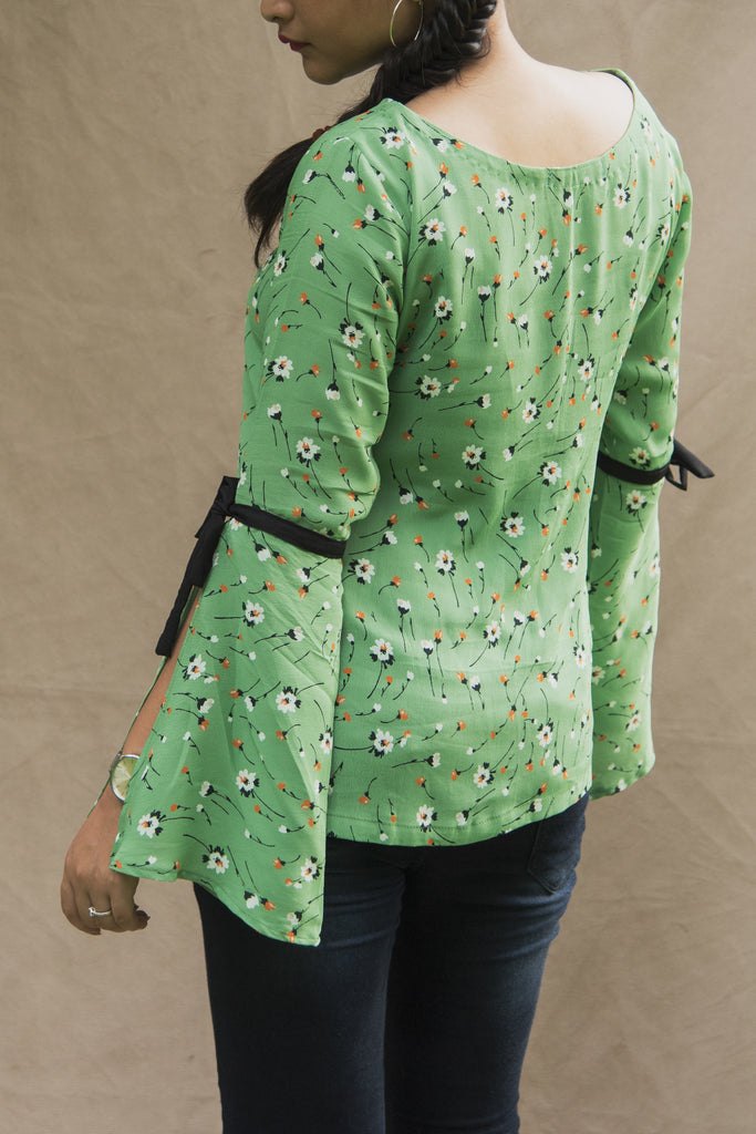 Green Printed Bell Sleeved Top