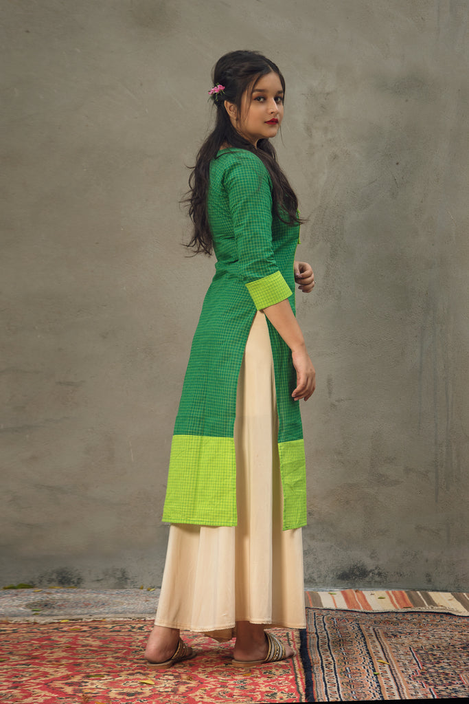 Green Chequered cotton kurta
