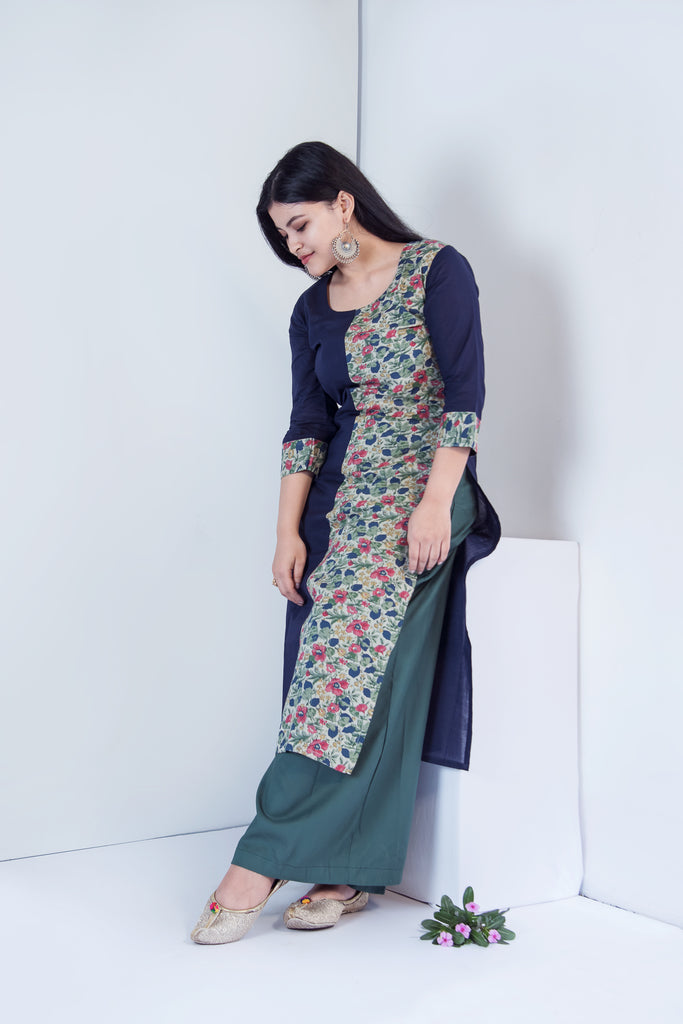 Floral Navy Blue Long Kurta