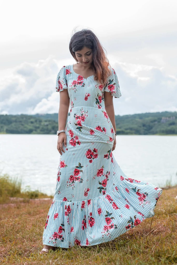 Striped & Floral Printed Maxi with Frills