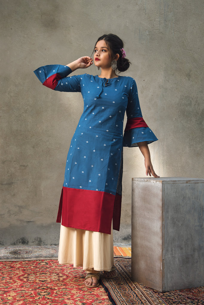 Blue & Maroon self designed kurta with bell sleeves