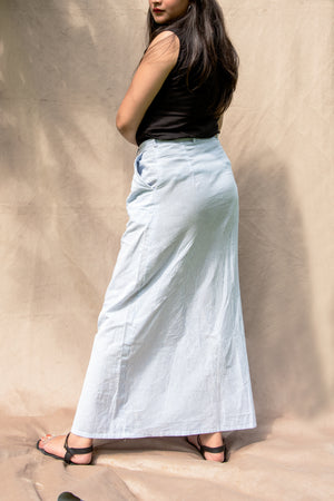 Blue & White Striped Button-Up Long Skirt