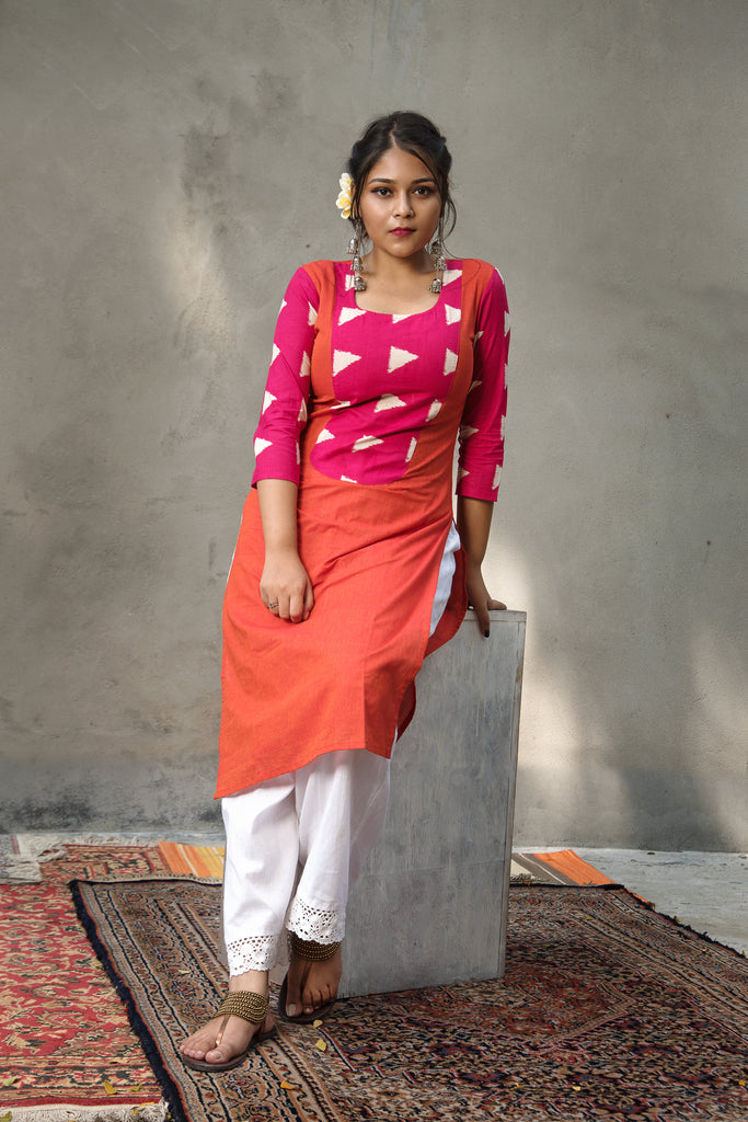 Orange & Pink Cotton Kurta
