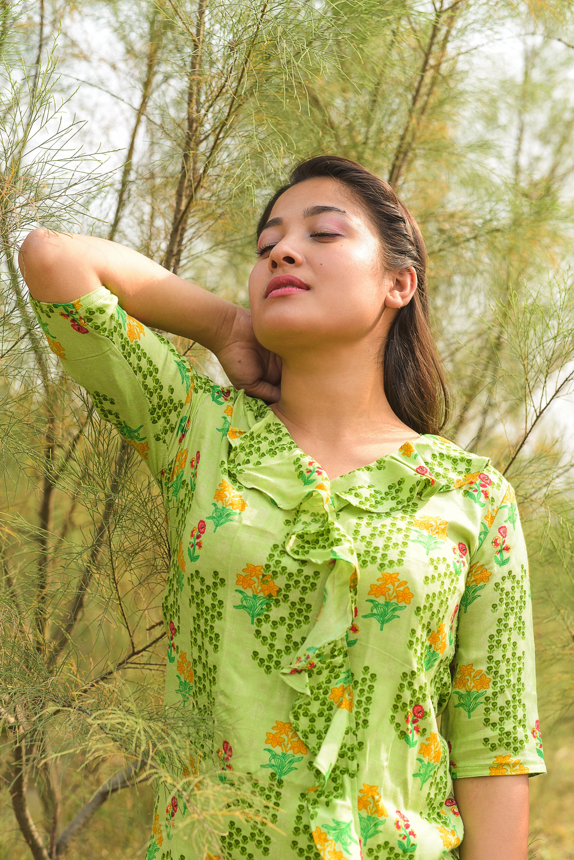 Green Printed Ruffle Top