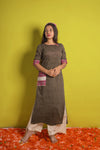Striped Grey Straight Kurta with Weave Details