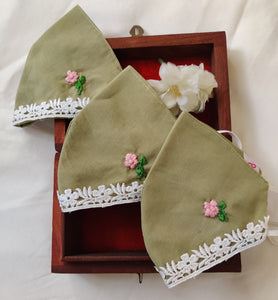 Green Floral Hand embroidered Cotton Masks with lace details