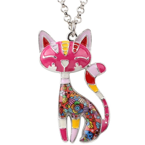 Enamel Authentic Cat Colorful Necklace